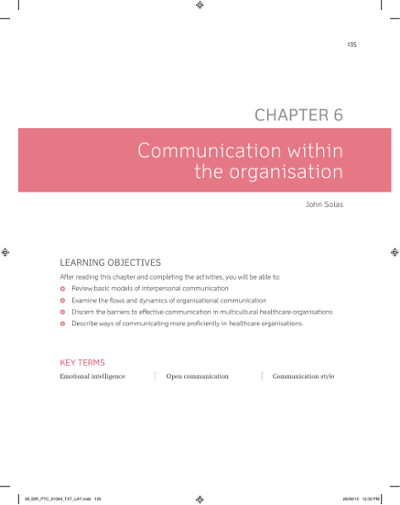 Communication within the organisation