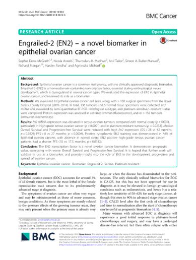 Engrailed 2 En2 A Novel Biomarker In Epithelial Ovarian Cancer