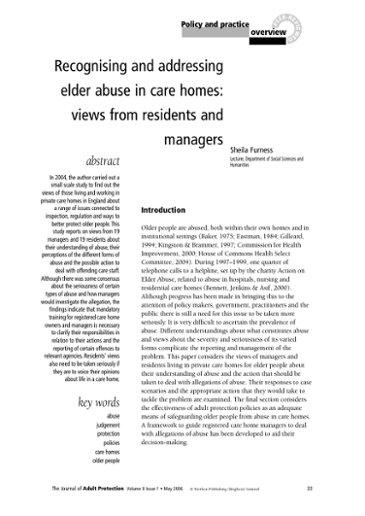 recognising and addressing elder abuse in care homes views from