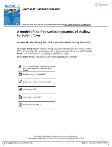 A model of the free surface dynamics of shallow turbulent flows